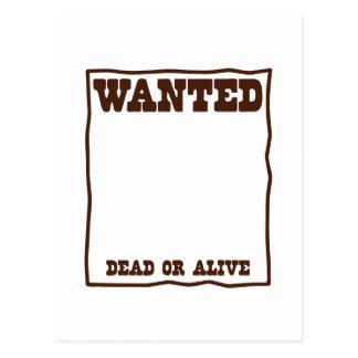 GEWOLLTES totes oder lebendiges Plakat mit leerem Postkarte
