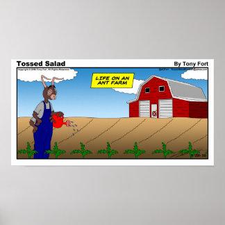 Geworfener Salat-Sonntags-Cartoon-Druck Poster