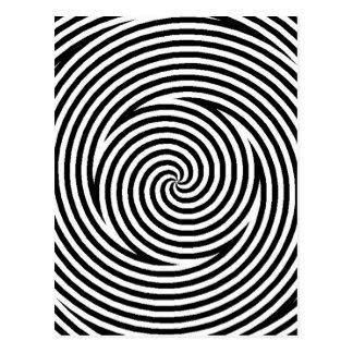 Gewundene optische Illusions-Schwarz-weiße Postkarte