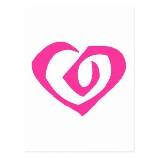 Gewundene rosa Herz-Liebe-Herzen Postkarte