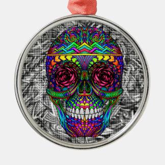 Gewundene Zen-Süßigkeits-Schädel-abstrakte Silbernes Ornament