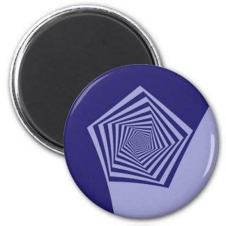 Gewundener Blues-Magnet Pentagons Runder Magnet 5,7 Cm
