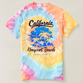 Gewundener gefärbte Krawatte Newport-Strand T-shirt