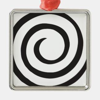 Gewundenes abstraktes quadratisches silberfarbenes ornament