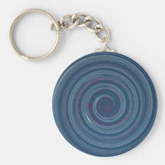 gewundenes Blau - Hypnotik Standard Runder Schlüsselanhänger