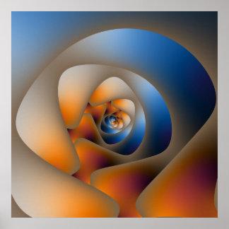 Gewundenes Labyrinth im blauen und orange Plakat