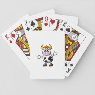 Gezeichnete Cartoon-Schwarzweiss-Kuh Stier Spielkarten