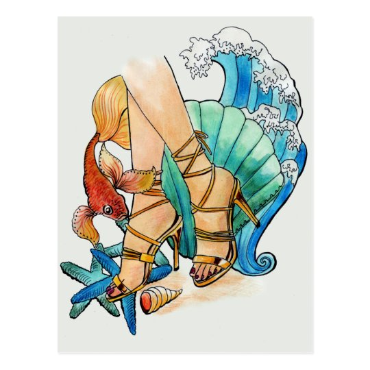 Gezeichnete Illustration der Mode des Chic coole Postkarte
