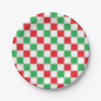 Gezeichnetes kariertes Rotes, Weiß und Grün Pappteller