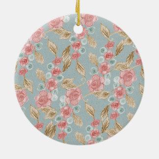 Gezeichnetes Retro Blumenmuster Rundes Keramik Ornament