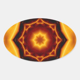 Gezeigter Stern des Kaleidoskop-acht auf Feuer Ovaler Aufkleber