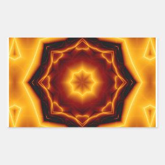 Gezeigter Stern des Kaleidoskop-acht auf Feuer Rechteckiger Aufkleber