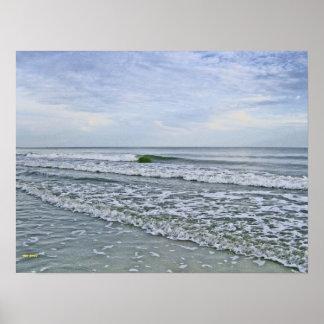 Gezeiten, die entlang Carolina-Küste kommen Poster