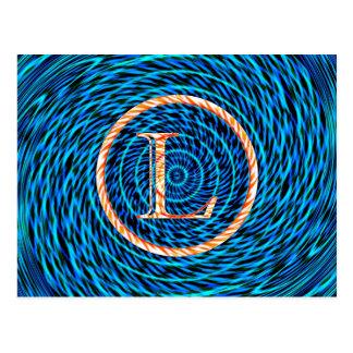 Gezeiten- gewundenes blaues Monogramm L Postkarte