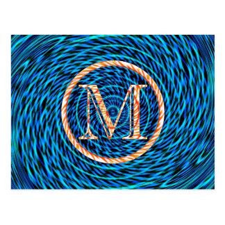 Gezeiten- gewundenes blaues Monogramm M Postkarte