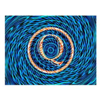 Gezeiten- gewundenes blaues Monogramm Q Postkarte