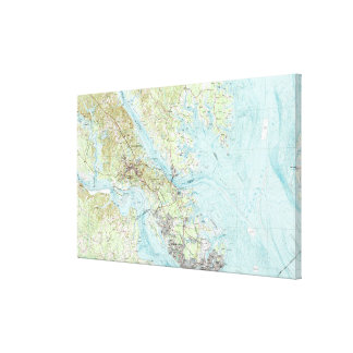 Gezeitenwasser Virginia Map (1984) Leinwanddruck