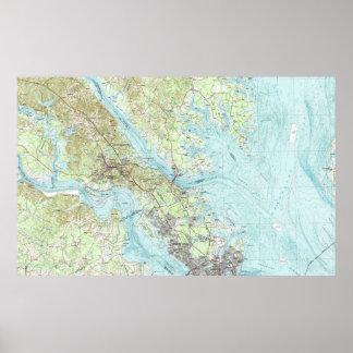 Gezeitenwasser Virginia Map (1984) Poster