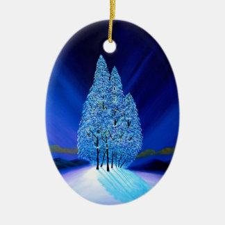 Gezierte Baum-blaues Weihnachten sieben Ovales Keramik Ornament