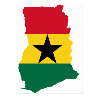 Ghana-Flaggen-Karte Handhabung am Boden Postkarte