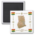 Ghana-Karte + Flaggen-Magnet Quadratischer Magnet