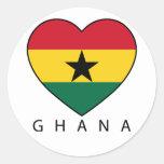 """Ghana Soccer Heart """"GHANA""""-Herz Runder Aufkleber"""