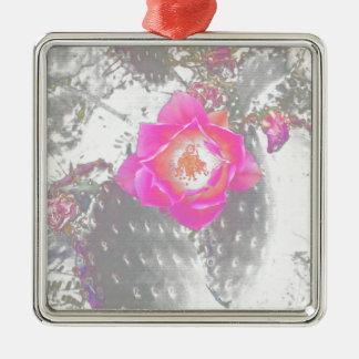 Ghosted Kaktus-Blume Quadratisches Silberfarbenes Ornament