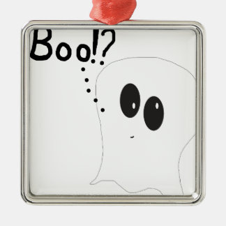Ghosty - Boo Quadratisches Silberfarbenes Ornament