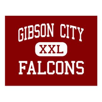 Gibson-Stadt - Falcons - Mitte - Melvin Illinois Postkarte