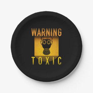 Giftiger warnender Gasmaske-Retro Pappteller