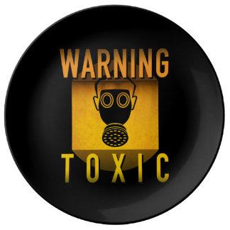 Giftiger warnender Gasmaske-Retro Teller