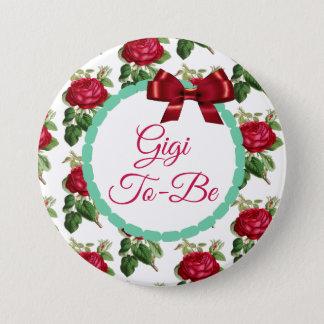 Gigi, zum Blumenchic-Burgunder-Rosen zu sein Runder Button 7,6 Cm