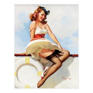 GIL ELVGREN Seemann-Mädchen, Siebzigerjahre Button Postkarte