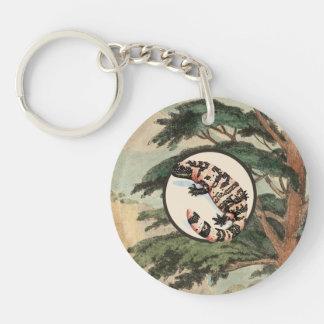 Gila-Krustenechse in der natürlicher Einseitiger Runder Acryl Schlüsselanhänger