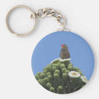 Gila-Specht auf Saguaro-Blüte Schlüsselanhänger