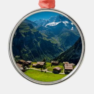 Gimmelwald in den Schweizer Alpen - die Schweiz Rundes Silberfarbenes Ornament