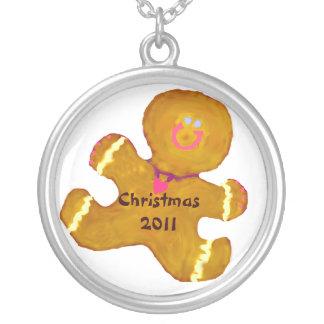 Gingerbreadman Weihnachtsdatum Versilberte Kette