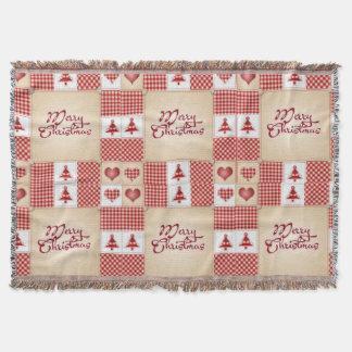 Gingham-Flecken-Weihnachtsfeiertags-Decken-Wurf Decke