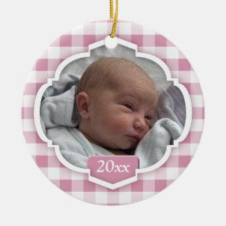 Gingham-Foto-Verzierung des Babys 1. Keramik Ornament