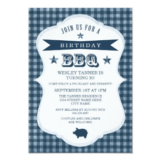 Gingham-Grill-Geburtstags-Party Einladung