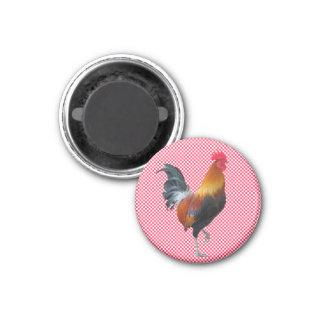 Gingham-Hahn-Magnet Runder Magnet 2,5 Cm