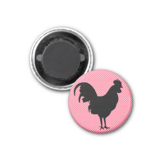 Gingham-Hahn-Magnet Runder Magnet 3,2 Cm