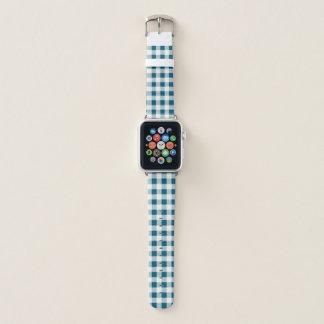 Gingham-Karo-bläuliches Grün Apple Watch Armband