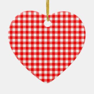 Gingham-rote und weiße Muster-Herz-Verzierung Keramik Ornament