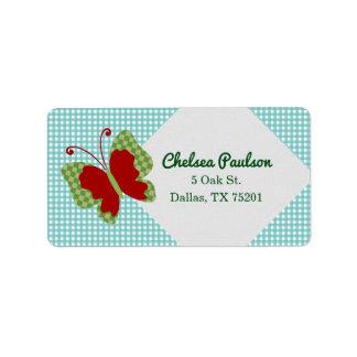 Gingham-Schmetterlings-kundengerechte Adressaufkleber