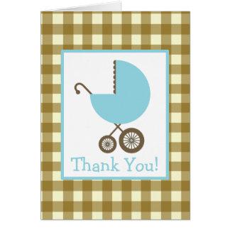 Gingham u. blaue Wagen-Babyparty danken Ihnen Karten