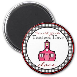 Gingham-vierter Grad-Lehrer-Magnet Runder Magnet 5,7 Cm