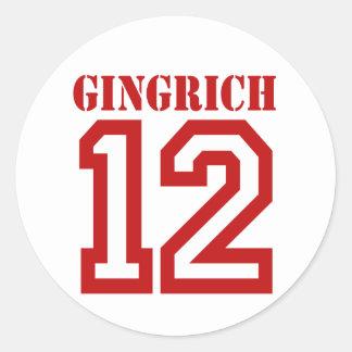 GINGRICH IN '12 RUNDER AUFKLEBER