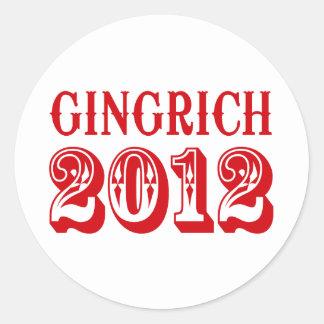 GINGRICH T - SHIRT 2012 RUNDER AUFKLEBER