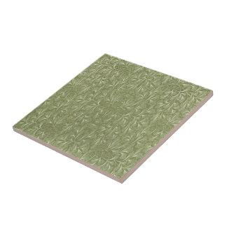 Ginkgo biloba Blätter auf weisem Grün Kleine Quadratische Fliese